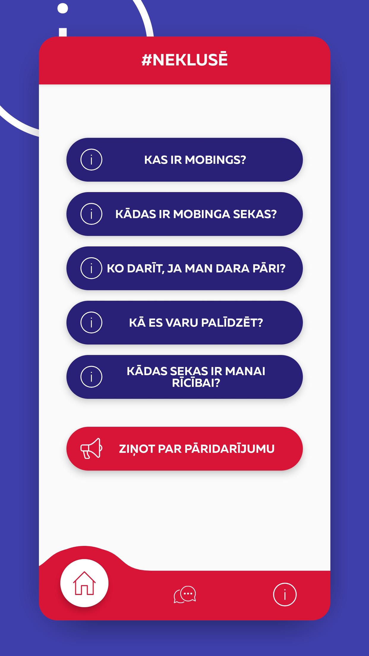 #Neklusē mobilā lietotne